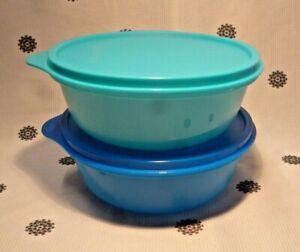 Brand NEW Tupperware Set of 2 Space Saver Salad Bowls 600ml Blue