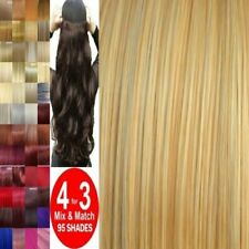 CLEARANCE Hair Extensions Half Head 1pc Curly Straight feel real Chestnut browns