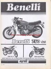 Benelli 750 Sei Motorcycle 1976 Magazine Advert #489