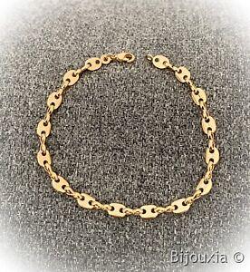 Bracelet Grain De Café 19cm En Plaqué or 18 Carats 750/1000 Bijoux femme
