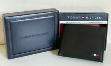 TOMMY HILFIGER BLACK GENUINE LEATHER BILLFOLD PASSCASE RFID PROTECT WALLET $48
