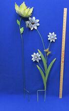 2 Garden Sculpture Stakes Painted Metal Yard Decor Flowers Leaves Butterflies