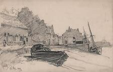 GEORGE CHARLES HAITE Victorian Drawing 1899 BOATS ON COAST WELLS-NEXT-THE-SEA