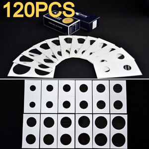 120pcs Cardboard Mylar Coin Flips Coin 12 Sizes Collection Paper Clips Holders