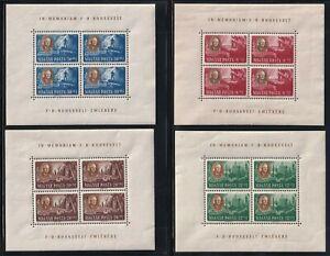 HUNGARY 1947 MINT NH SOUVENIR SHEETS #198A/198D CB1/CB1C FRANKLIN D ROOSEVELT !!