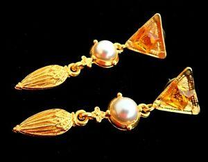 """Art Deco Dangle Earrings 2.5"""" Long Flapper Jewelry Faux Pearl Cabochon Etruscan"""