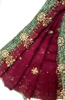 Vintage Indian Dupatta Antique Georgette Long Stole Embroidered Scarves Hijab