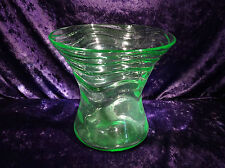Webb Venetian Ripple Pattern Vase Uranium Glass