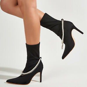 Elegant Casual Womens Shoes Fashion Pearl Metal Chain Pointed Stretch Mid Boots