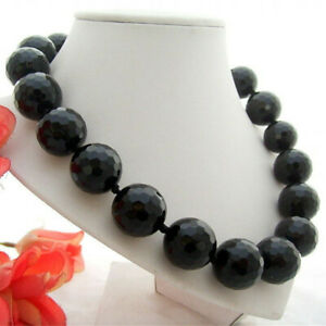 "17"" 20MM Faceted Round Black Onyx Necklace GP Clasp Classic Style Necklace Gifts"