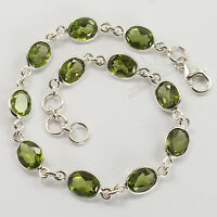 """925 Solid Sterling Silver Natural Peridot Oval Gemstones Fashion Bracelet 8 1/4"""""""