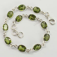 925 Solid Sterling Silver Natural Peridot Oval Gemstones Fashion Bracelet 8 1/4""
