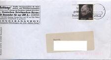 Brief mit Marke 25. Todestag Konrad Adenauer mit 100 Pf echt gelaufen