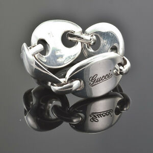 FASHION DESIGNER GUCCI STERLING SILVER LADY'S JOURNEY RING US5.5 MADE IN ITALY