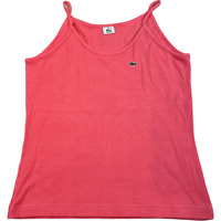 LACOSTE Womens Ribbed Tank Top Shirt Small Pink