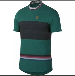 NEW Nike Court Challenger Slim Dri-Fit Green Tennis Shirt AJ8183-340 Size Large