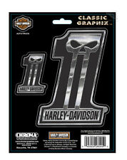 Harley Davidson #1 Skull Dark Custom Classic chrome  Decal