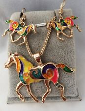 Gold Plated  Multicolor unicorn Horse Pendant Eearring Set
