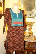 VINTAGE KURTI HIPPIE ALINE SHORT COTTON  DRESS / M/L