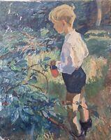Impressionist Karl Adser 1912-1995 Junge im Garten beim Beerenpflücken 81 x 65
