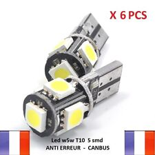 6 ampoule led w5w anti erreur odb t10 canbus voiture moto xenon 6500k veilleuse