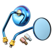 L&R Motorcycle Metal Round Rearview Side Mirror Blue Glass 10mm Thread Universal