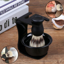 3 In 1 Shaving Soap Bowl With Brush And Stand Bristle Hair Shave Brushes ^P