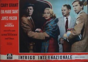 NORTH BY NORTHWEST Italian fotobusta movie poster 2 1960 ALFRED HITCHCOCK GRANT
