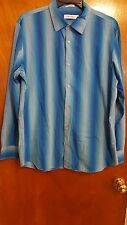 Calvin Klein Men's Shirt Size L Blue White Striped Button Down Long Sleeves
