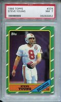 1986 Topps Football #374 Steve Young Rookie Card RC Graded PSA Nr Mint 7