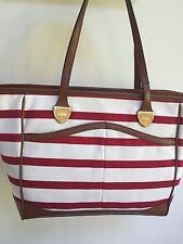 Ralph Lauren Beverly Summer Canvas Red Handbag