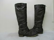 CARLOS HANNA Brown Zip Buckle Straps Riding Boots Womens Size 8