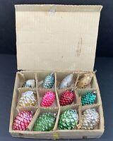 Lot Of 12 Vtg Christmas PINECONE ORNAMENTS 10 Glass 2 Cardboard w/Glitter JAPAN