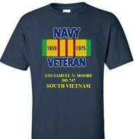 USS SAMUEL N. MOORE  DD-747 NAVY VIETNAM CAMPAIGN RIBBON & VINYL SHIRT/SWEAT
