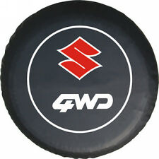 """Spare Wheel Tire Cover Series 29"""" SUZUKI RED logo Tire Cover HD Tuxedo Black"""