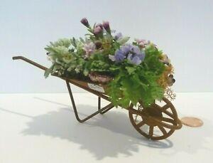 DOLLHOUSE MINIATURE RUSTY WHEELBARROW FILLED WITH FLOWERS