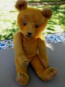 Antique Teddy Bear 12 inches Straw Stuffed Jointed & eyes glass