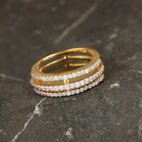 Solid 14k Yellow Gold Pave Natural Diamond Spinner Ring Fine Jewelry NEW ARRIVAL