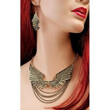 Antique Style Jewelry Egiptian Wings of Isis Hand Cast Necklace and Earring Set