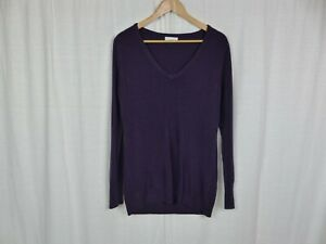 New York & Company Women's Solid Purple Long Sleeve V Neck Tunic Sweater Size XL