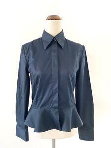 Raoul Shirt 38 Navy Tailored Ruffle Peplum Long Sleeve Button Up Monogram Women
