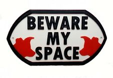 Border Collie Dog Beware My Space - House Garden Sign Plaque