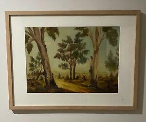 "J P Heaps Original Oil Painting ""Untitled"" Tree lined road scene"