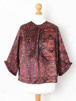 byTiMo by TiMo Women's Size 12 M Satin Paisley Floral Print Loose Blouse Top