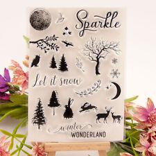 Xmas Tree elk Sparkle Silicone Stamp Seal Scrapbooking Photo Album Decorat Np