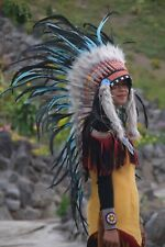 Native American Indian Black Turquish Feather Headdress Costume War Bonnet