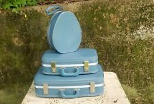 Vintage Blue Stacking Suitcases Three Piece Set