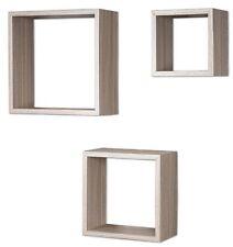 3er Set Cube Wandregal Regal 25cm 20cm 15cm Holz Dekor Weiß Braun Würfelregal