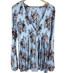 Free People Blue Floral Tunic Top Hi Low Large
