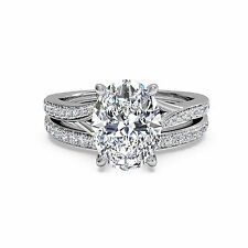 Vvs 1.50Ct Diamond Solid 14K White Gold Womens Band Sets Engagement Ring Size 6